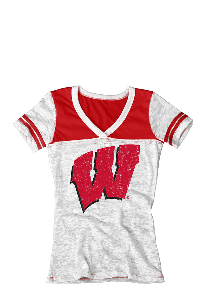 Wisconsin Badgers Juniors White Burnout V-Neck T-Shirt - Image 1
