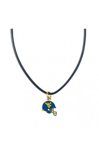 West Virginia Mountaineers Womens Heart Charm Necklace - Silver