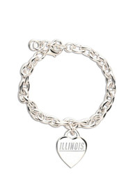 Illinois Fighting Illini Womens Heart Charm Bracelet - Silver