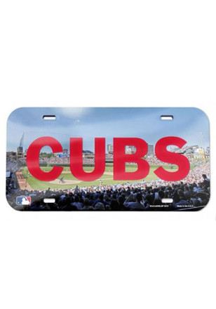 Chicago Cubs Stadium Crystal Mirror Car Accessory License Plate