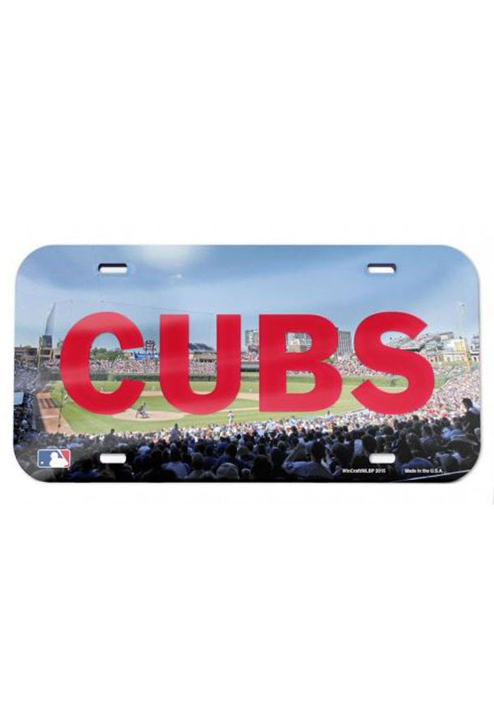Chicago Cubs Stadium Crystal Mirror Car Accessory License Plate - Image 1
