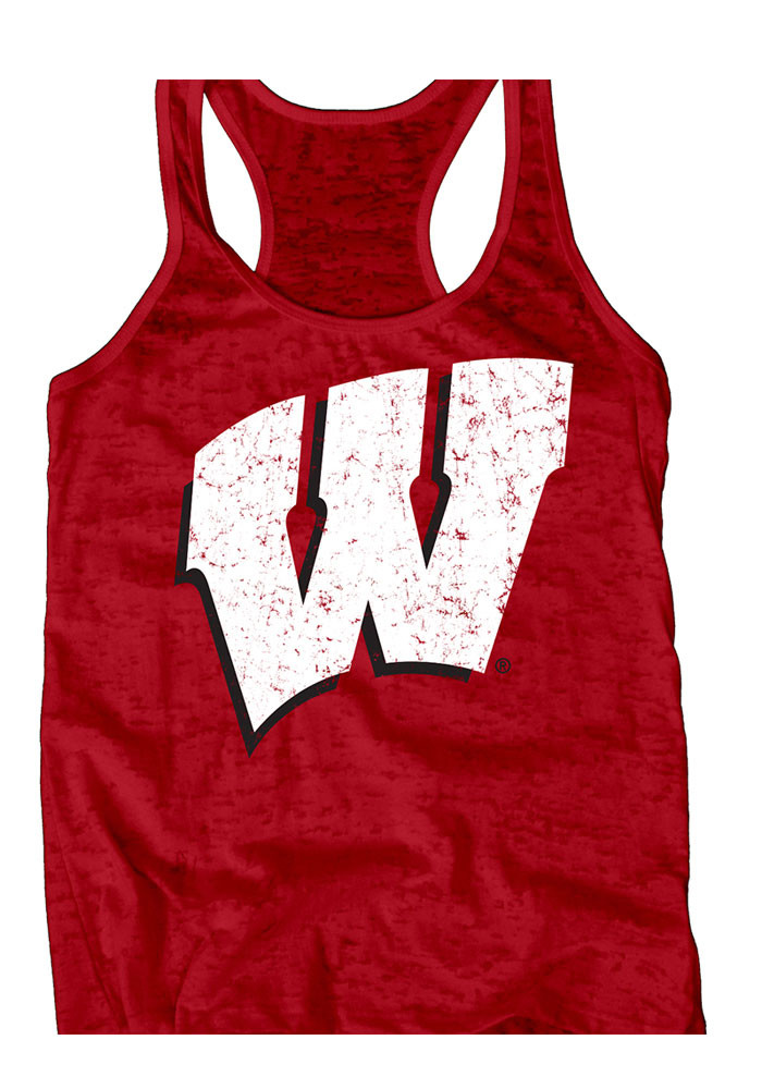 Wisconsin Badgers Womens Red Burnout Tank Top - Image 1