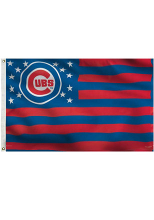 Chicago Cubs Stars and Stripes Grommet Blue Silk Screen Grommet Flag