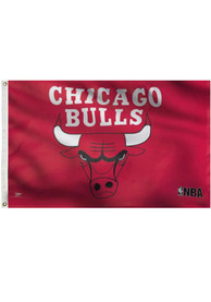 Chicago Bulls Deluxe Grommet Red Silk Screen Grommet Flag