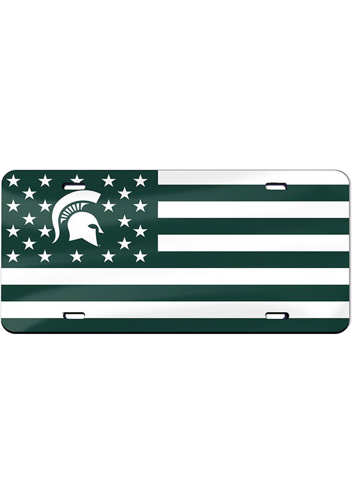 Michigan State Spartans Stars and Stripes Car Accessory License Plate - Image 1