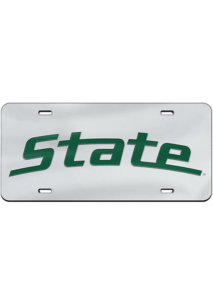 Michigan State Spartans Wordmark Inlaid Car Accessory License Plate - Image 1