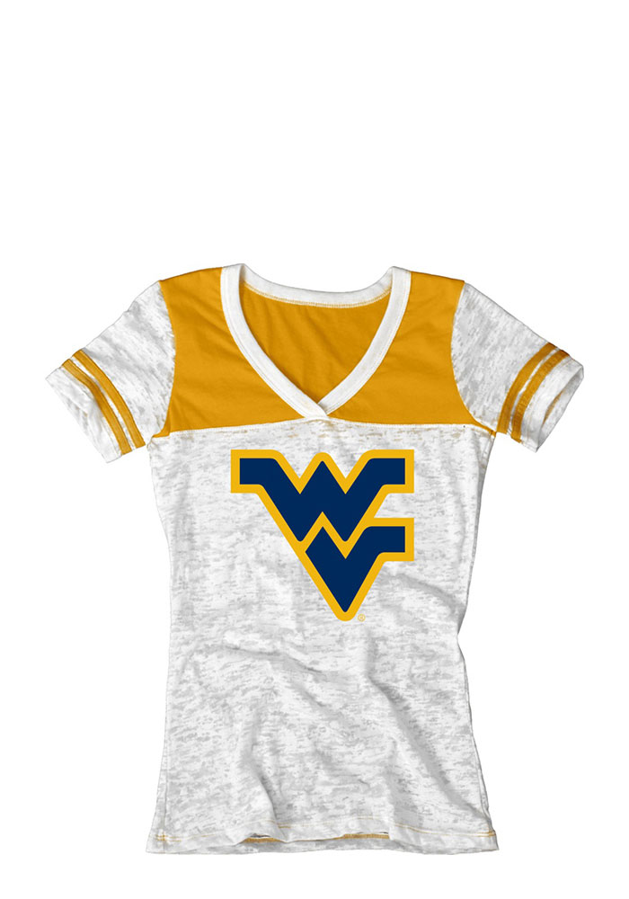West Virginia Mountaineers Juniors White Burnout V-Neck T-Shirt - Image 1