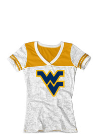 West Virginia Mountaineers Juniors White Burnout V-Neck