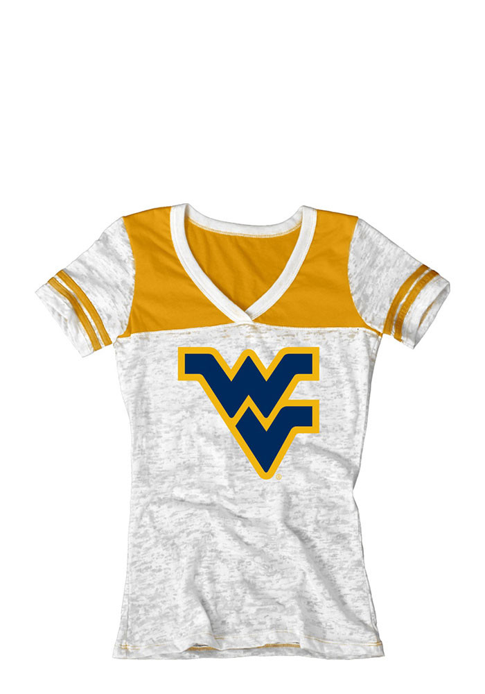 West Virginia Mountaineers Womens White Burnout V-Neck T-Shirt - Image 1