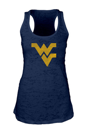West Virginia Mountaineers Womens Navy Blue Burnout Tank Top