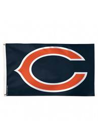 Chicago Bears Deluxe Grommet Navy Blue Silk Screen Grommet Flag