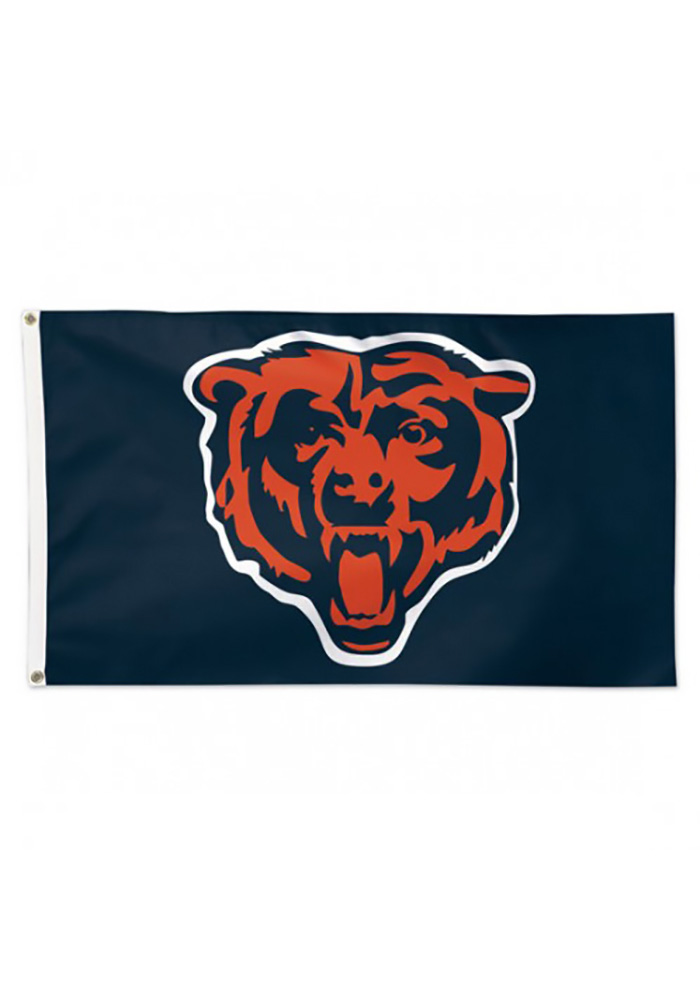 Chicago Bears Alternate Logo Navy Blue Silk Screen Grommet Flag - Image 1