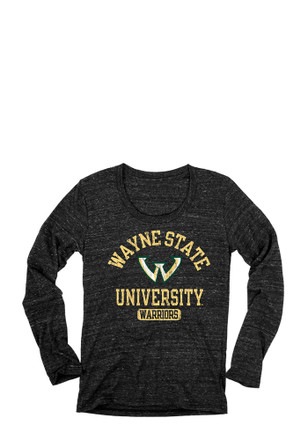 Wayne State Warriors Womens Danville Black Scoop Neck Tee