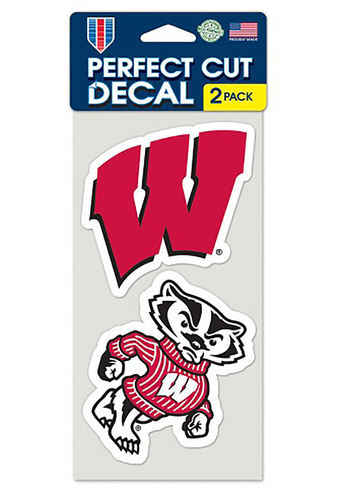 Wisconsin Badgers 2 Pack Perfect Cut Auto Decal - Red - Image 1