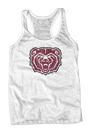 Missouri State Bears Womens White Burnout Tank Top