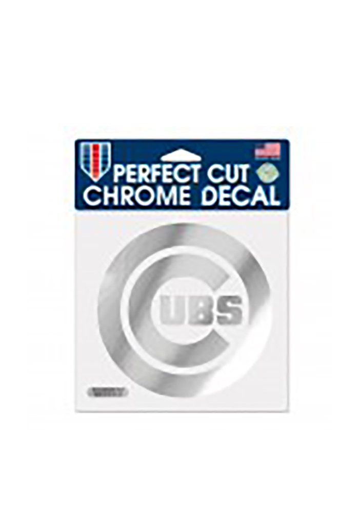 Chicago Cubs Chrome Auto Decal - Silver