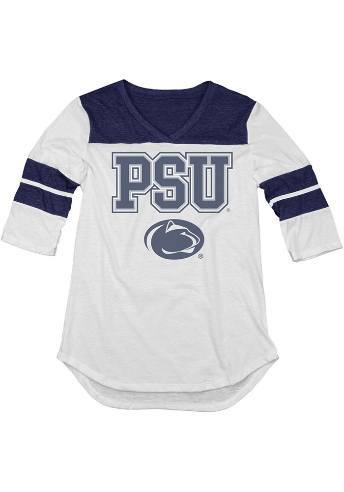 Penn State Nittany Lions Juniors White Tri-Blend Long Sleeve Crew T-Shirt - Image 1