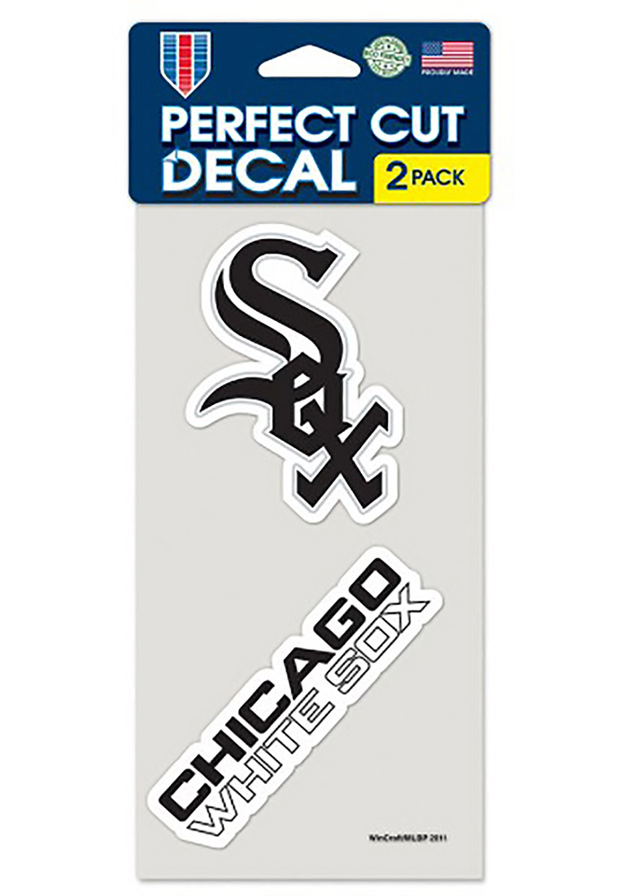 Chicago White Sox 4x4 2 Pack Auto Decal - Black - Image 1