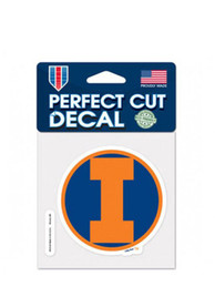 Illinois Fighting Illini Perfect Cut Auto Decal - Orange