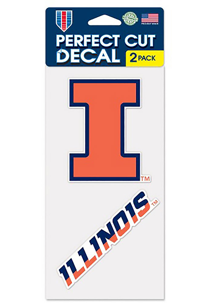 Illinois Fighting Illini 2 Pack Perfect Cut Decal - Image 1