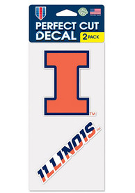 Illinois Fighting Illini 2 Pack Perfect Cut Auto Decal - Orange