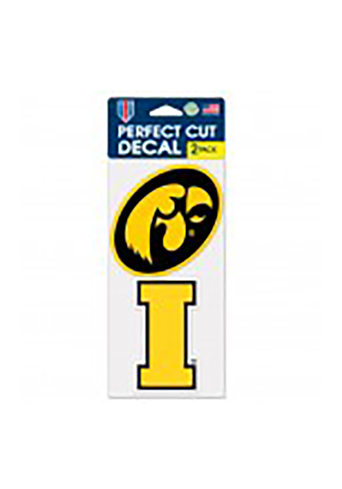Iowa Hawkeyes 2 Pack Perfect Cut Auto Decal - Yellow - Image 1