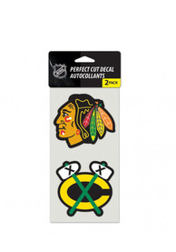 Chicago Blackhawks 2 Pack Perfect Cut Auto Decal - Black