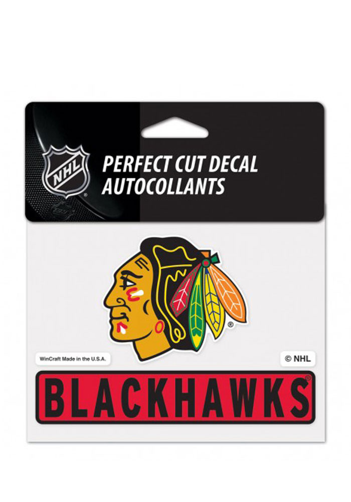 Chicago Blackhawks Team Name Perfect Cut Auto Decal - Red - Image 1