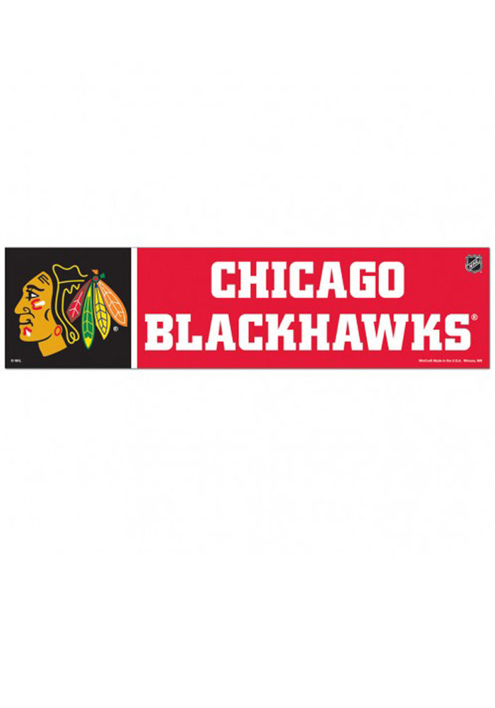 Chicago Blackhawks 3x12 Bumper Sticker - Red - Image 1