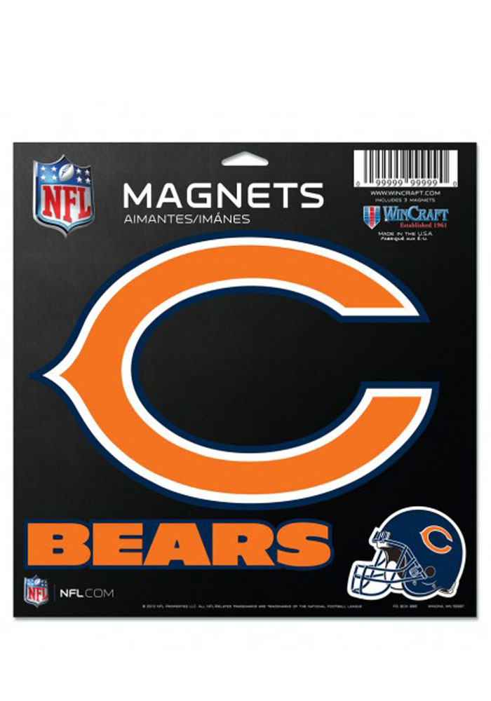 Chicago Bears 11x11 Multi Pack Car Accessory Car Magnet - Image 1