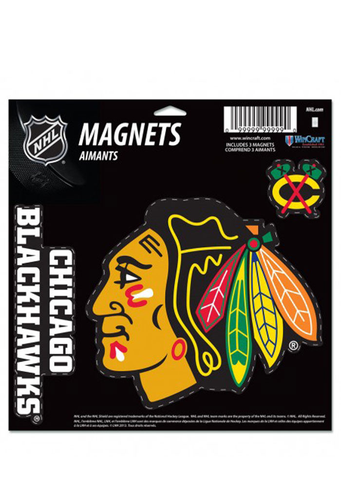Chicago Blackhawks Multi Pack Car Accessory Car Magnet - Image 1