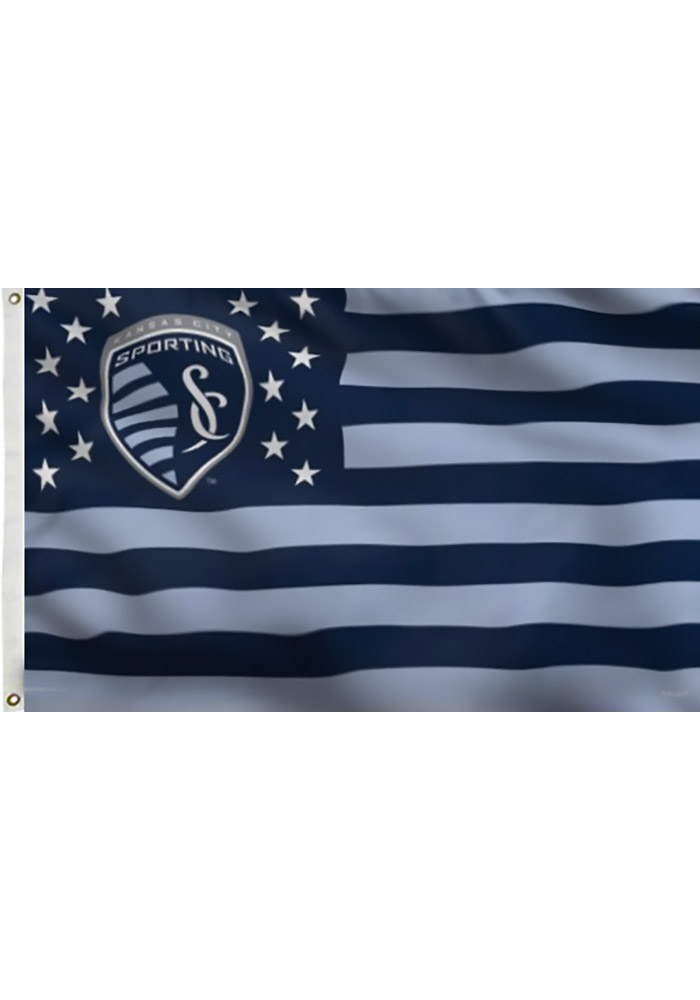 Sporting Kansas City 3x5 Stars and Stripes Deluxe Blue Silk Screen Grommet Flag - Image 1