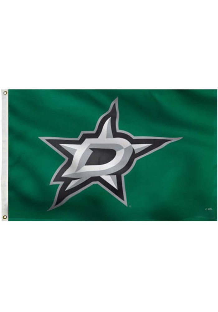 Dallas Stars 3x5 Green Grommet Green Silk Screen Grommet Flag - Image 1