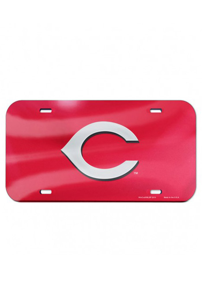 Cincinnati Reds Team Logo Red Inlaid Car Accessory License Plate - Image 1
