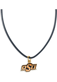 Oklahoma State Cowboys Womens Leather Necklace - Orange