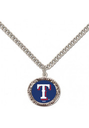 Texas Rangers Womens Hammered Charm Necklace - Blue