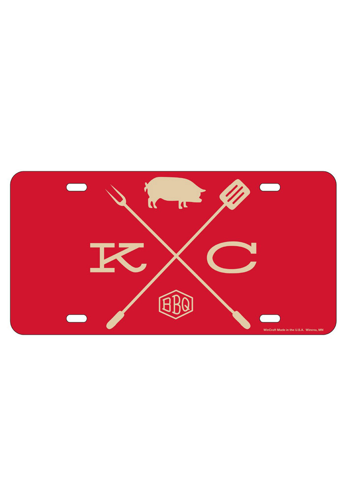 Kansas City BBQ Crossing Glossy Car Accessory License Plate - Image 1