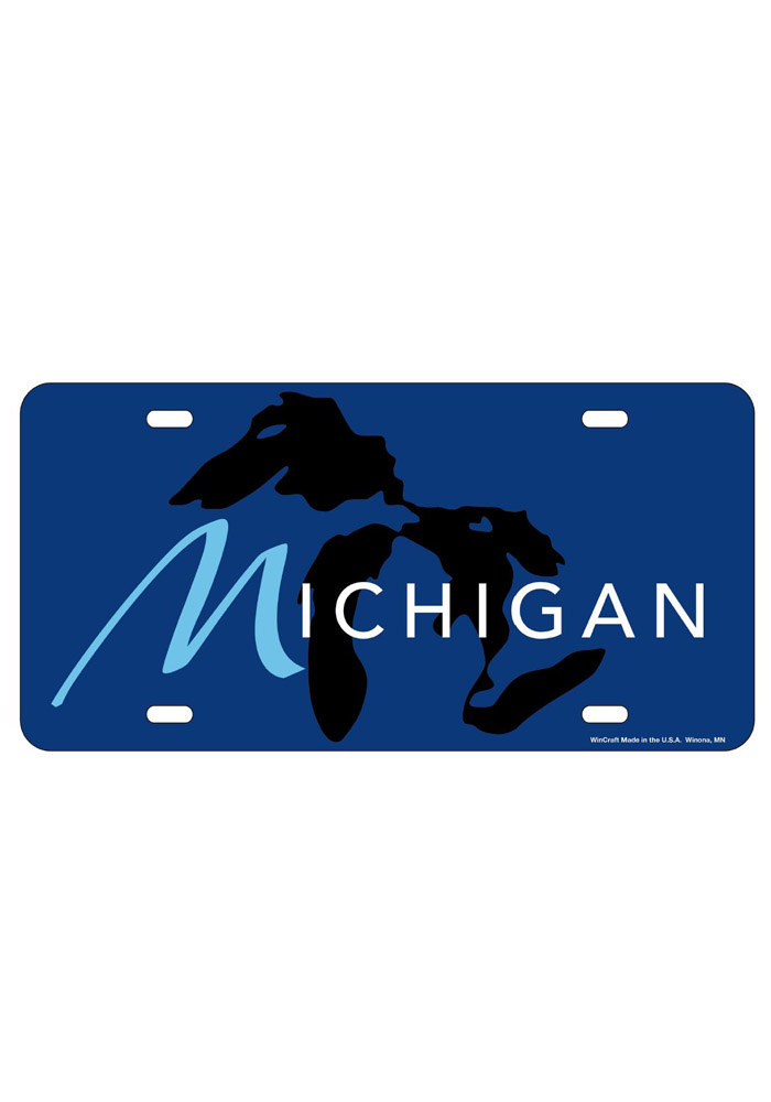 Michigan Great Lakes Glossy Car Accessory License Plate - Image 1