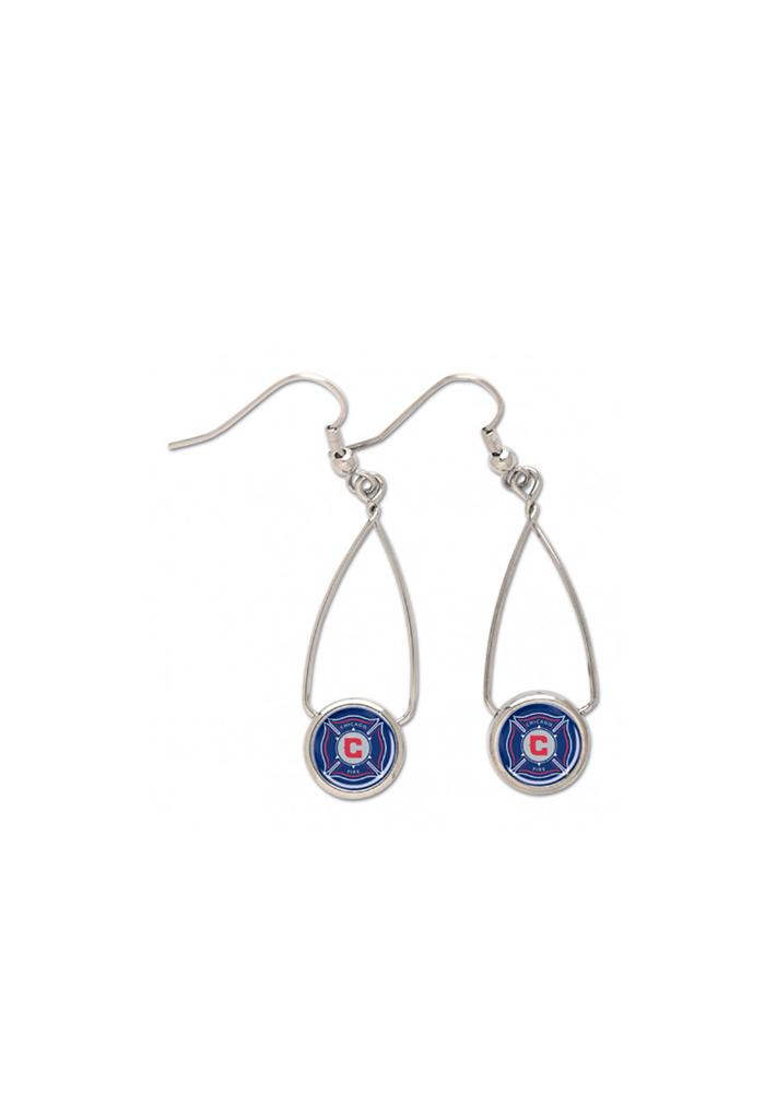 Chicago Fire Womens French Loop Earrings - Blue