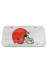 Cleveland Browns Classic Acrylic Team Logo Silver Car Accessory License Plate