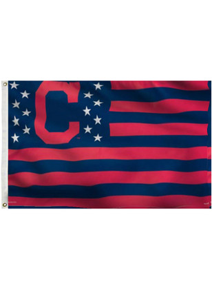 Cleveland Indians Stars and Stripes Grommet Navy Blue Silk Screen Grommet Flag