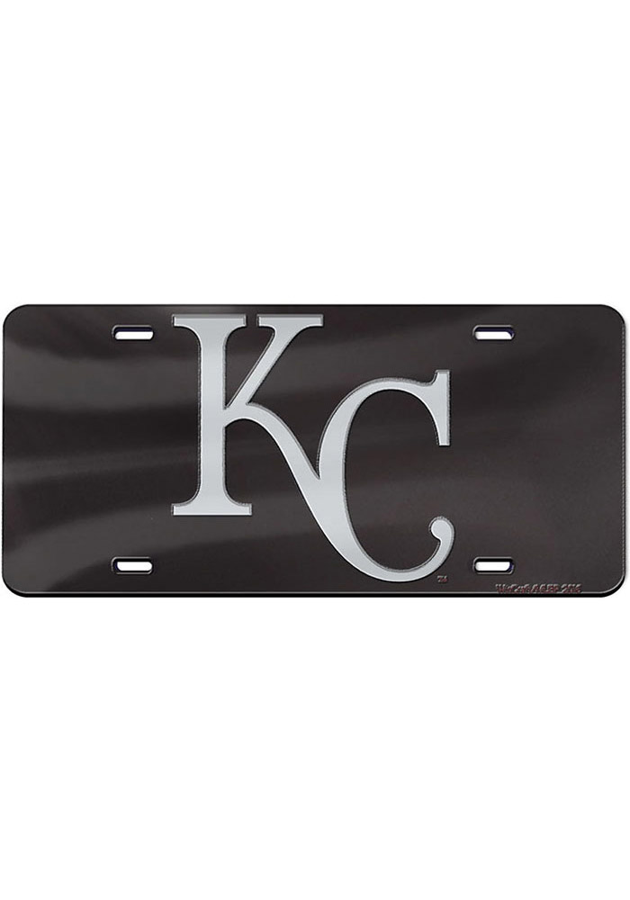 Kansas City Royals Black/Silver Cap Logo Inlaid Car Accessory License Plate - Image 1