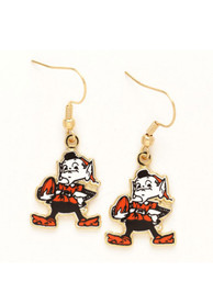 Cleveland Browns Womens Elf Dangle Earrings - Gold