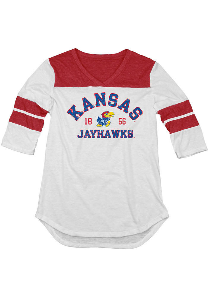 Kansas Jayhawks Womens White 3/4 Sleeve Yoke Long Sleeve Crew T-Shirt - Image 1