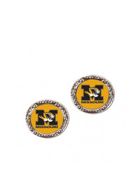 Missouri Tigers Womens Hammered Post Earrings - Silver