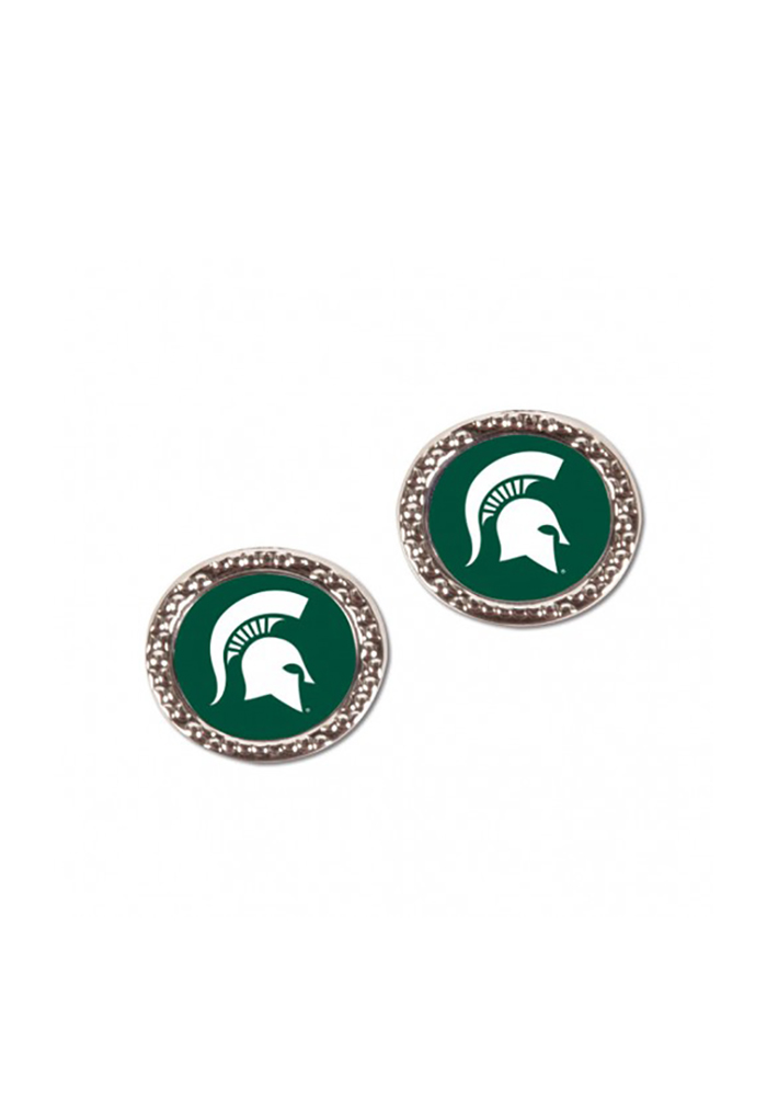 Michigan State Spartans Womens Hammered Post Earrings - Green