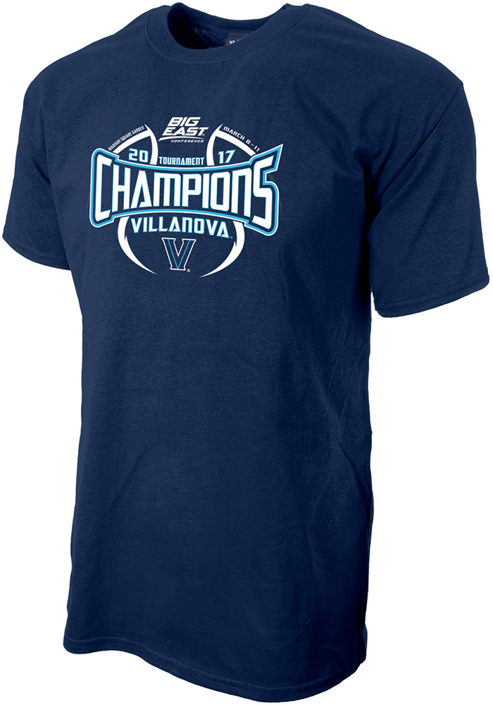 Villanova Wildcats Mens Navy Blue 2017 Big East Tournament Champions Short Sleeve T Shirt, Navy Blue, 100% COTTON, Size L