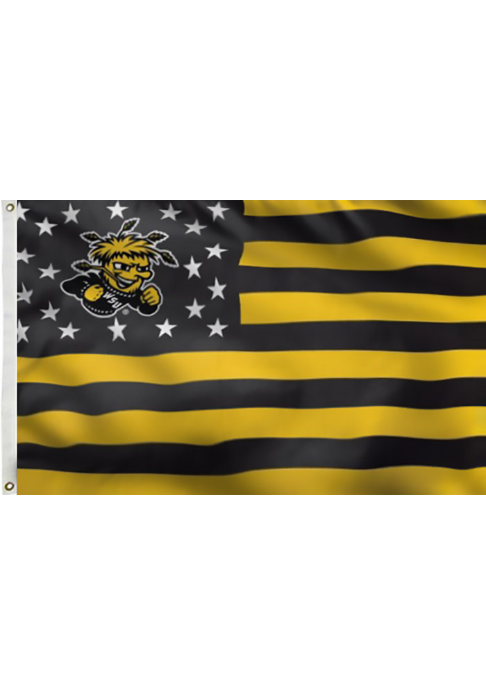 Wichita State Shockers 3x5 Stars and Stripes Deluxe Black Silk Screen Grommet Flag - Image 1