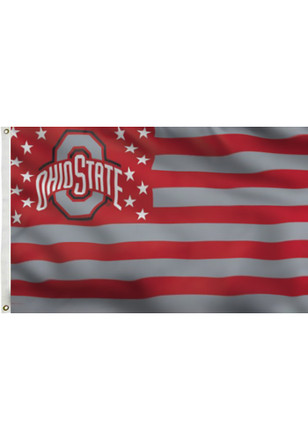 Ohio State Buckeyes 3x5 Stars and Stripes Deluxe Red Silk Screen Grommet