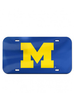 Michigan Wolverines Team Logo Blue Inlaid Car Accessory License Plate